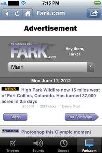 Fark - Screenshot depicting the design of the Fark iPhone app (2012)
