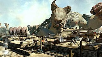 God of War: Ascension - A portion of the Desert of Lost Souls multiplayer map: players (seen on right) battle each other with the Titan cyclops Polyphemus in the background. If players get close to Polyphemus, he will attack them.