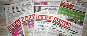 The Herald (Malaysian Catholic Weekly) - Montage of the Herald, which is published in English with sections in Chinese, Tamil and Malaysian language.