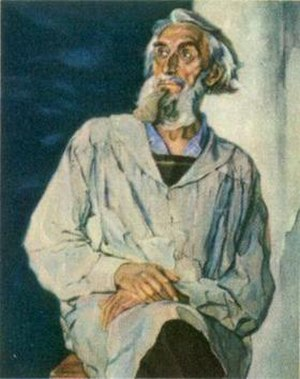 Pavel Korin - Portrait of sculptor Sergey Konenkov, 1947