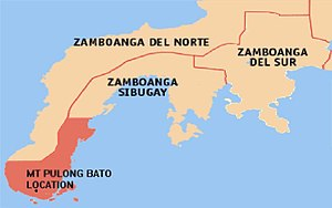 Mount Pulong Bato - Location within the Zamboanga Peninsula