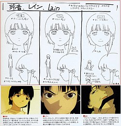 A series of drawings depicting the different personalities of Lain—the first shows shy body language, the second shows bolder body language, and the third grins in an unhinged fashion.