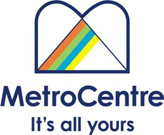 "MetroCentre (shopping centre) - The logo used from 2004 to 2009. The stylised ""M"" symbol is an updated version of the grey-coloured symbol used from 1987 to 2004."