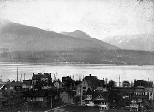 History of Squamish and Tsleil-Waututh longshoremen, 1863–1963 - Mission (Ustlawn) Squamish Indian Reserve, seen across Burrard Inlet from Vancouver c. 1903.