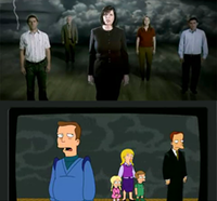 Screen captures of National Organization for Marriage and No on Infinity advertisements both featuring individuals facing a camera with gray storm clouds in the background
