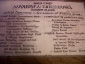 Napoleon Andrew Tuiteleleapaga - Napoleon's business card