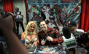 Beyond Comics - Coco Austin and Beyond Comics founder Graig Weich being filmed for E! TV's Ice Loves Coco at New York Comic Con