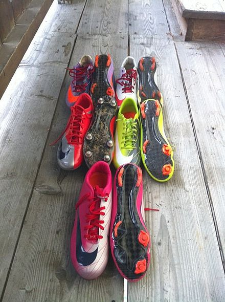 A collection of Mercurial Vapor Superfly II's and Mercurial Vapor  Superfly's in different colorways.