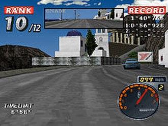 Rage Racer - Gameplay screenshot (Yokohama Rubber Company billboard can be seen)