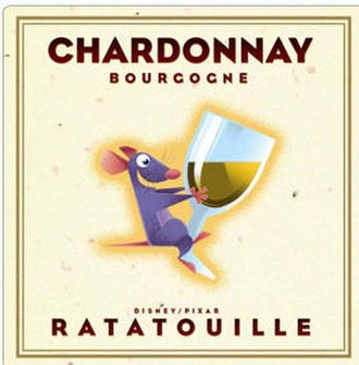 Ratatouille (film) - The front label of the planned Ratatouille wine to have been promoted by Disney, Pixar, and Costco, and subsequently pulled for its use of a cartoon character