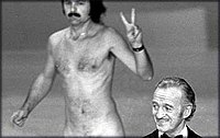 Robert Opel streaking at the 46th Academy Awards ceremony.