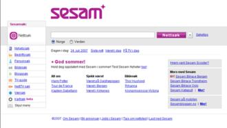 Sesam - Sesam homepage