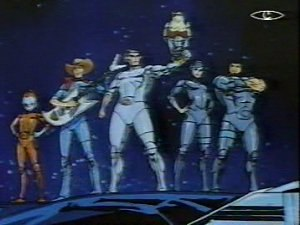 SilverHawks - The SilverHawks in the show's title sequence. Left to right: Copper Kidd, Bluegrass, Quicksilver (with Tallyhawk perched on arm), Steelheart, Steelwill.