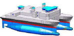 Small-waterplane-area twin hull - A SWATH ship resembles a catamaran.  The twin hulls (blue) remain completely submerged.
