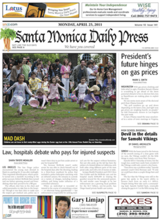Santa Monica Daily Press - Front page from Monday, April 25, 2011
