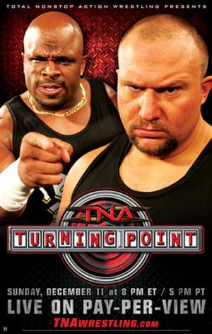 Turning Point (2005 wrestling) - The promotional poster for the event featuring Team 3D (Brother Devon (left) and Brother Ray (right))