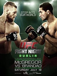 A poster or logo for UFC Fight Night: McGregor vs. Brandao.