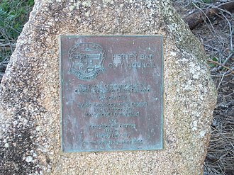 Urangan Pier - A plaque at the Urangan Pier; placed in 1999, commemorating the re-opening of the Urangan Pier.