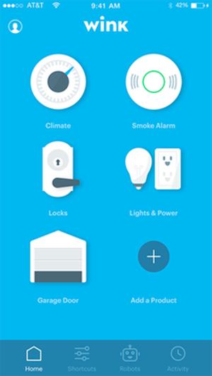 Wink (platform) - Homescreen of the Wink app for iPhone.