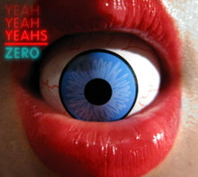 An open mouth with red lips shows an eyeball inside it. The upper left of the cover has the band's name in neon red and the song title below it in neon blue.