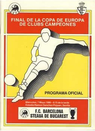 1986 European Cup Final - Match programme cover