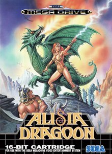 A red-haired woman stands on a rocky surface. She is clad only in bra, panties, and boots. Adorned with various accessories, she points her left hand towards the sky and shoots a bolt of lightning from her index finger. Behind her stands a green winged dragon, breathing fire towards the sky. Four muscular humanoids, armed with swords, surround the woman and dragon, threatening the two with bared fangs.