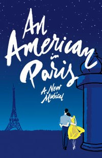 Poster shows a stylized rendition of a couple walking toward the Eiffel Tower at dusk.