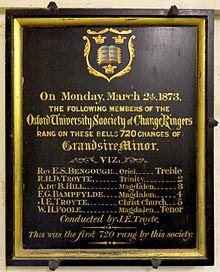 A picture of a board recording a visit by the Oxford University Society of Change Ringers to Iffley Church in 1873.