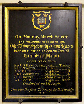 Oxford University Society of Change Ringers - In 1873 the society visited Iffley church.