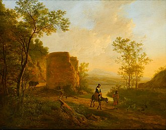 Jan Dirksz Both - Both A Southern Landscape with a Ruin, oil on panel.