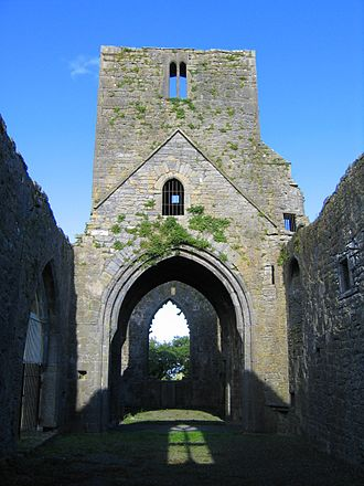 Callan Augustinian Friary -  Remains of Abbeys bell tower and east window