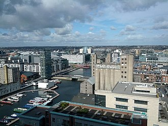 Grand Canal Dock - View of the western (inner) basin from the top floor of the Google Docks (Montevetro) building. Boland's Mill, the Alto Vetro building, and The Marker Hotel can be seen.
