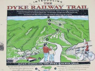 The Dyke railway station - Dyke Railway Trail sign