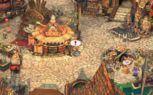 Final Fantasy IX - The field icon indicates an object can be inspected, as is the case with this ticket booth.