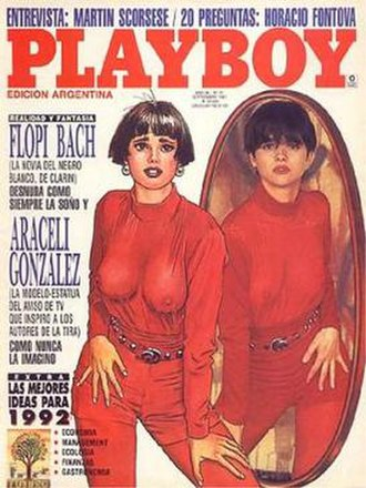 El Negro Blanco - Cover for an Argentinian Playboy magazine featuring Flopi Bach (left) and Araceli González (right).