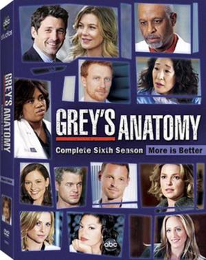 Grey's Anatomy (season 6) - Image: Grey's Anatomy Season Six DVD Cover