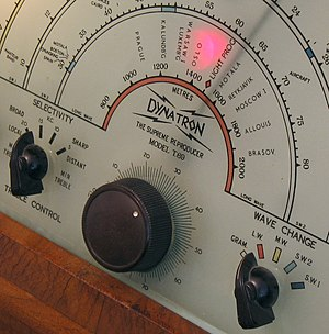 Longwave - The tuning dial on a 1946 Dynatron Merlin T.69 console radio receiver, showing long-wave wavelengths between 800 and 2000 metres, corresponding to frequencies between 375 and 150 kHz