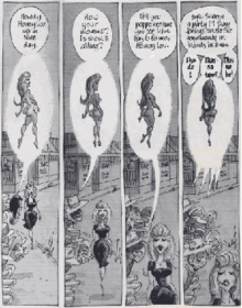 Four comics panels showing a group of men attempting to chat with a beautiful young woman as she walks by; as part of their dialogue balloons, they imagine her naked.