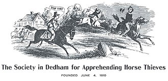 The Society in Dedham for Apprehending Horse Thieves - This drawing appears on all membership certificates of the Society.