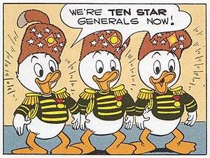 Junior Woodchucks - Image: Huey, Dewey and Louie as Ten Star Generals