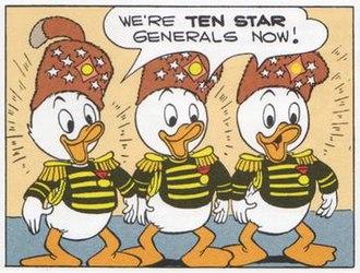 "Junior Woodchucks - Huey, Dewey and Louie as Ten Star Generals, from Carl Barks' story ""Ten-Star Generals"" (1951)."