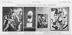 En Canot - Three photographs printed in the literary magazine Zlatá Praha, 13 March 1914, for the occasion of the Moderni Umeni, S.V.U. Mánes exhibition in Prague. From left to right: Tobeen, Pelotaris (1912), Constantin Brâncuși, Portrait of Mademoiselle Pogany (1912), Jean Metzinger, La Femme à l'Éventail (Woman with a Fan) and En Canot (V Člunu)