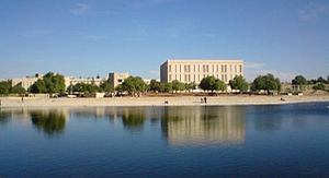 Jordan University of Science and Technology - The university reservoir at The Engineering Faculties Complex.