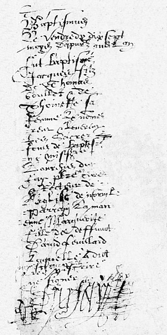 Jacques Goulet - Parish record of Jacques Goulet's birth on April 17, 1615