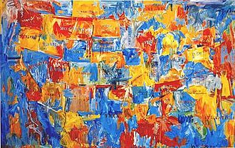 Jasper Johns - Jasper Johns, Map, 1961. Museum of Modern Art, New York. Flags, maps, targets, stenciled words and numbers were themes used by Johns in the 1960s.