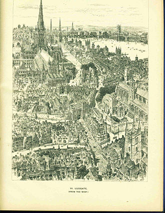 Ludgate - Lud Gate and surrounding area in the sixteenth century (as imagined in 1895)