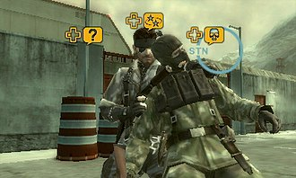 Metal Gear Solid 3: Snake Eater - A screenshot of Metal Gear Solid: Snake Eater 3D, showing Snake restraining the enemy with CQC