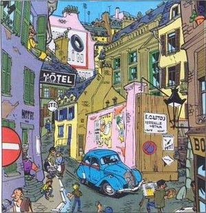 Maurice Tillieux - Street scene from Gil Jourdan's first adventure