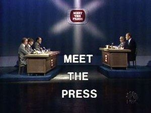 Meet the Press - Meet the Press set, November 1975. On this broadcast, a sitting American president (Gerald Ford) was, for the first time, a guest on a live television network news program.