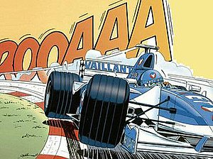 Michel Vaillant - A Vaillante F1, designed by Michel Vaillant, as drawn by Jean Graton on the back cover of the most recent albums.
